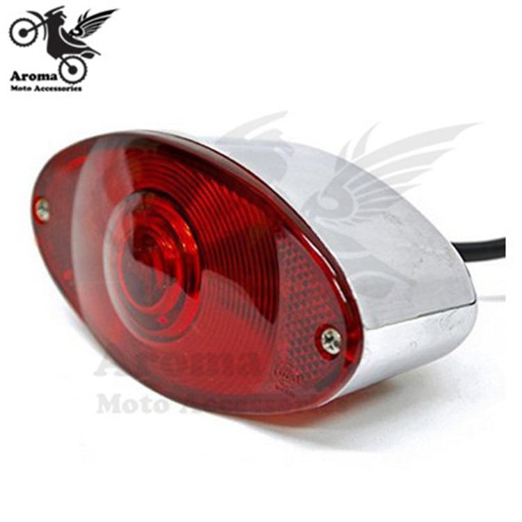 """Pro Electroplate cromo luz trasera de freno para motocicleta para harley moto señal lámpara universal 2 """"rojo iluminación bicicleta de motocross"""