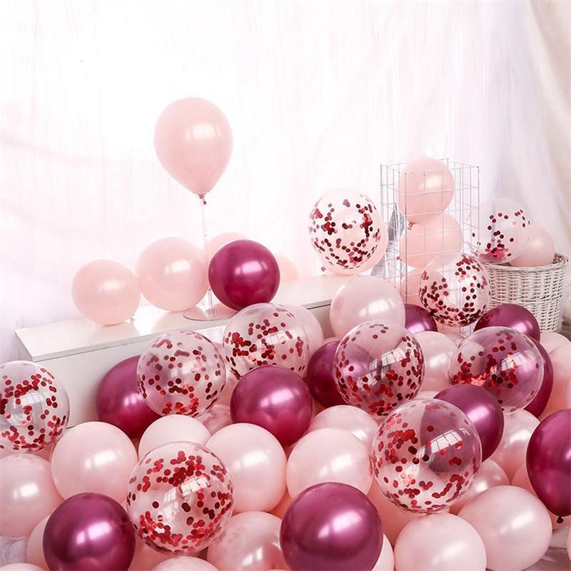 10 Uds. Globos de látex de Color rosa y rojo perla para decoración de San Valentín, cumpleaños, boda, fiesta sorpresa, globos inflables de colores
