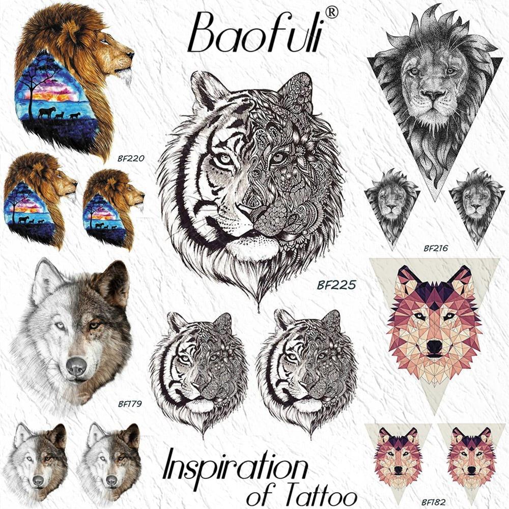 Baofuli Black Tiger Men Women Temporary Tattoo Sticker Waterproof Lion Wolf Henna Tatoo Body Art Arm Leg Ankle Fake Tattoo Paper