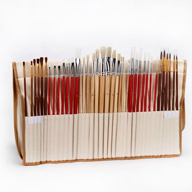 38 шт набор кистей для рисования с холщовой сумкой чехол Длинная Деревянная ручка синтетических волос товары для рукоделия для масляной акр...