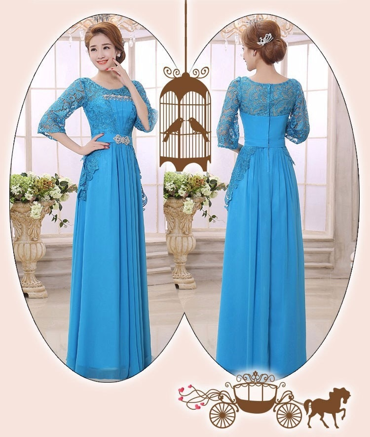 Blue purple Floor-Length 2017 New Arrival O-neck A-line Lace Full Sleeve Chiffon Long Mother Of The