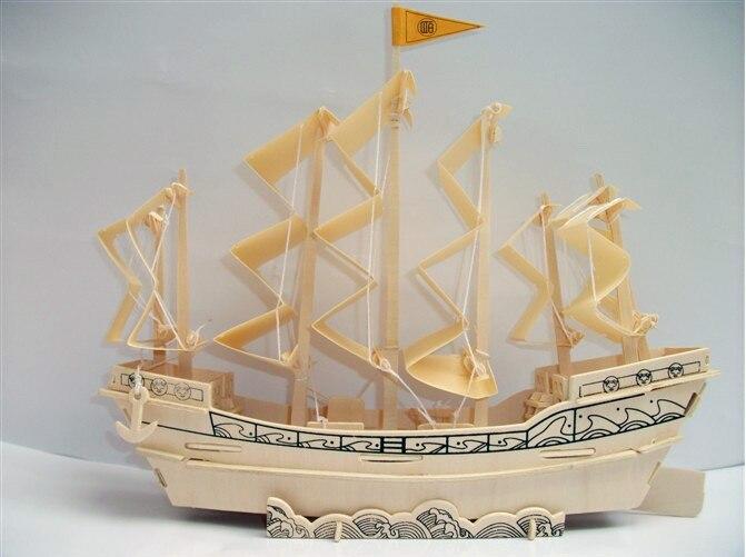 3D modelo de madera de rompecabezas DIY juguete de bebé chico regalo mano montar madera juego chino antiguo velero en la dinastía ming barco barco conjunto