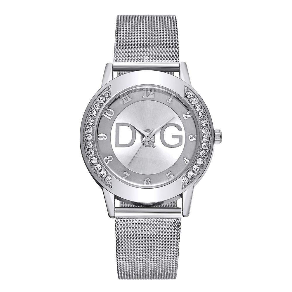 New Brand Women With Crystal Simple Fashion Lady Mesh Strap Watch Rhinestone Case reloj mujer Hot Sale Hodinky