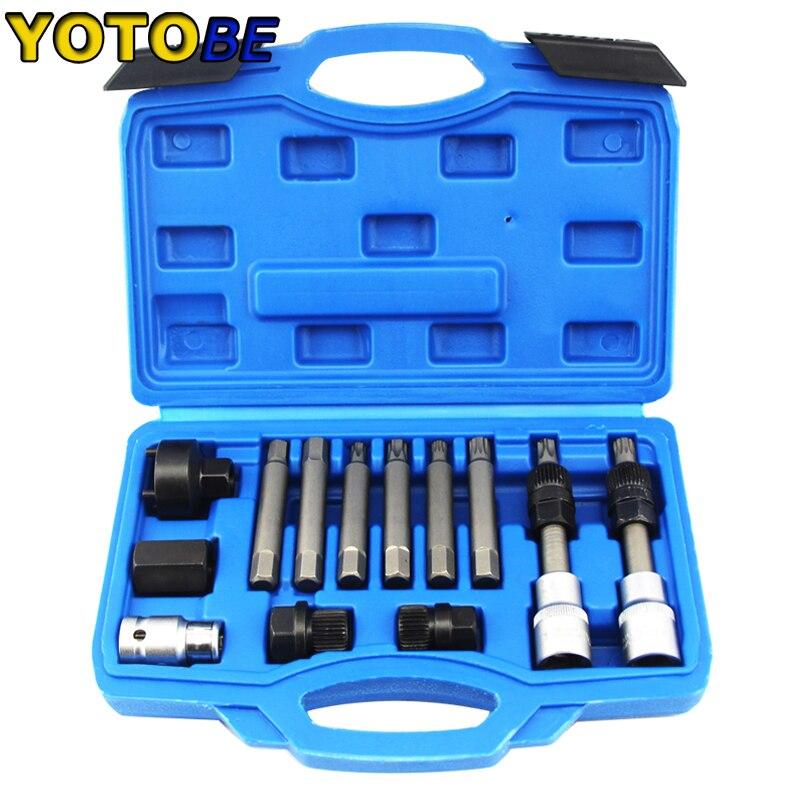 Conjunto de herramientas de motor de extracción de polea libre de alternador 13 uds, juego de herramientas automáticas profesionales