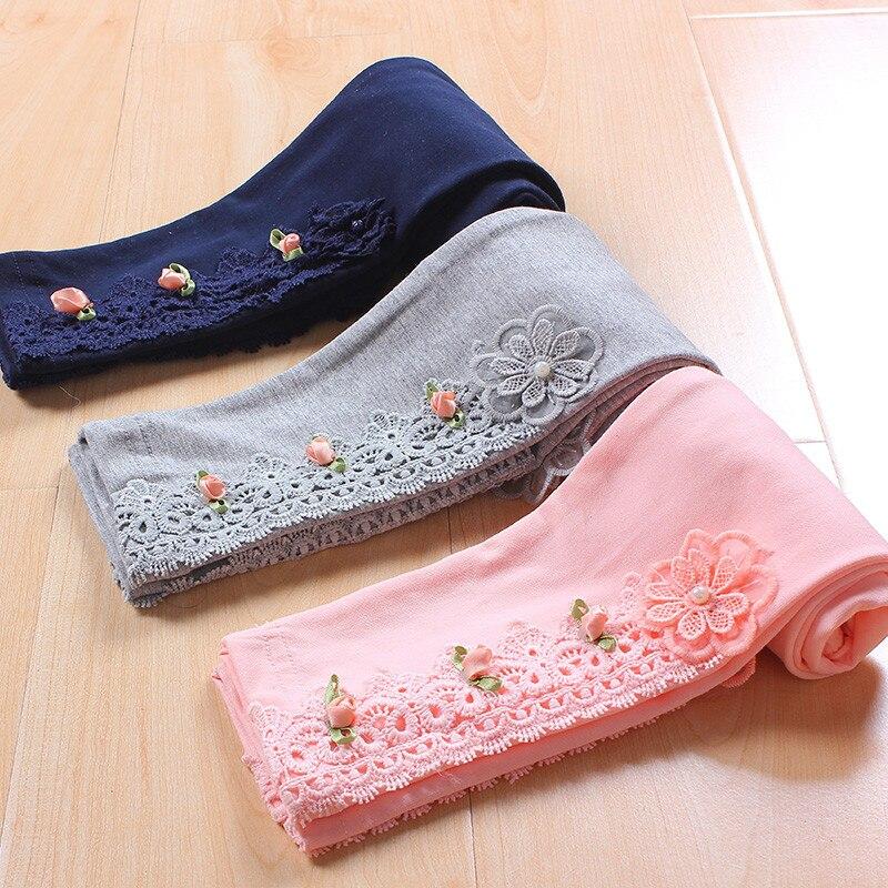 Kinder mädchen spitze blume baumwolle kausalen dünne leggings kinder mode frühling sommer herbst 3-farbe prinzessin leggings 4- 12 jahre