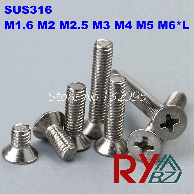 100 pçs/lote m1.6/m2/m2.5/m3/m4/m5/m6 * l din965 aço inoxidável a4 cabeça plana parafuso da máquina sus 316 din965