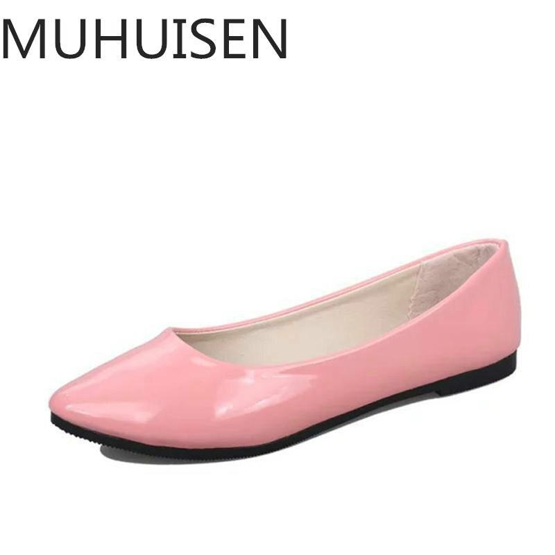 Женские тонкие туфли из искусственной кожи, весенне-осенние туфли на плоской подошве с закругленным мысом, большие размеры 35-42, 2018