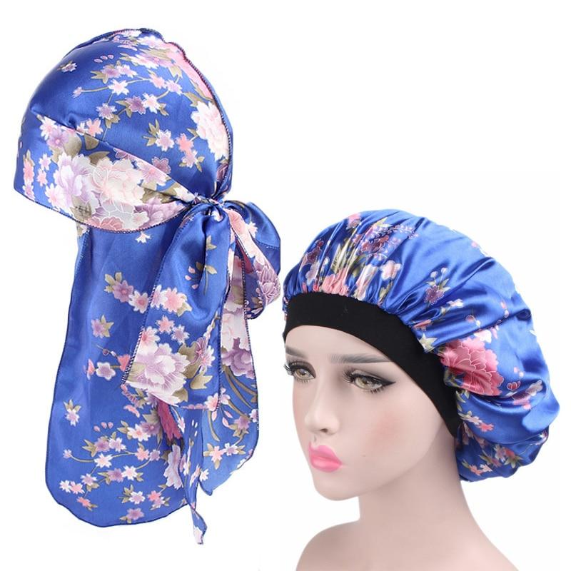 Women Silky Durag and Wide Band Satin Bonnet Soft Satin Night Sleep Hat  Ladies Turban Comfortable Sleeping Hat 2pcs/sets
