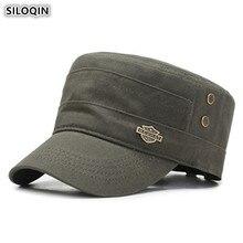 SILOQIN Snapback Cap mannen Platte Caps Katoen Militaire Hoeden Verstelbare Hoofd Size Mesh Ademend Sport Caps Voor Volwassen mannen