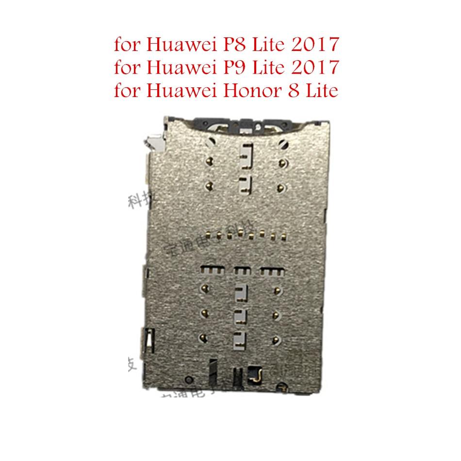 Para Huawei Honor 8 Lite/P9 ite 2017/P8 Lite 2017 Leitor de Cartão SIM Titular Bandeja Slot para Cartão conector do Soquete Reparação Peças De Reposição