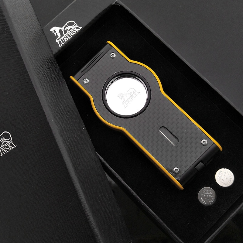 Lubinski Yellow Laser Touch Induction 4 Torch Jet Flame Cigar Lighter Windproof Gas Lighter