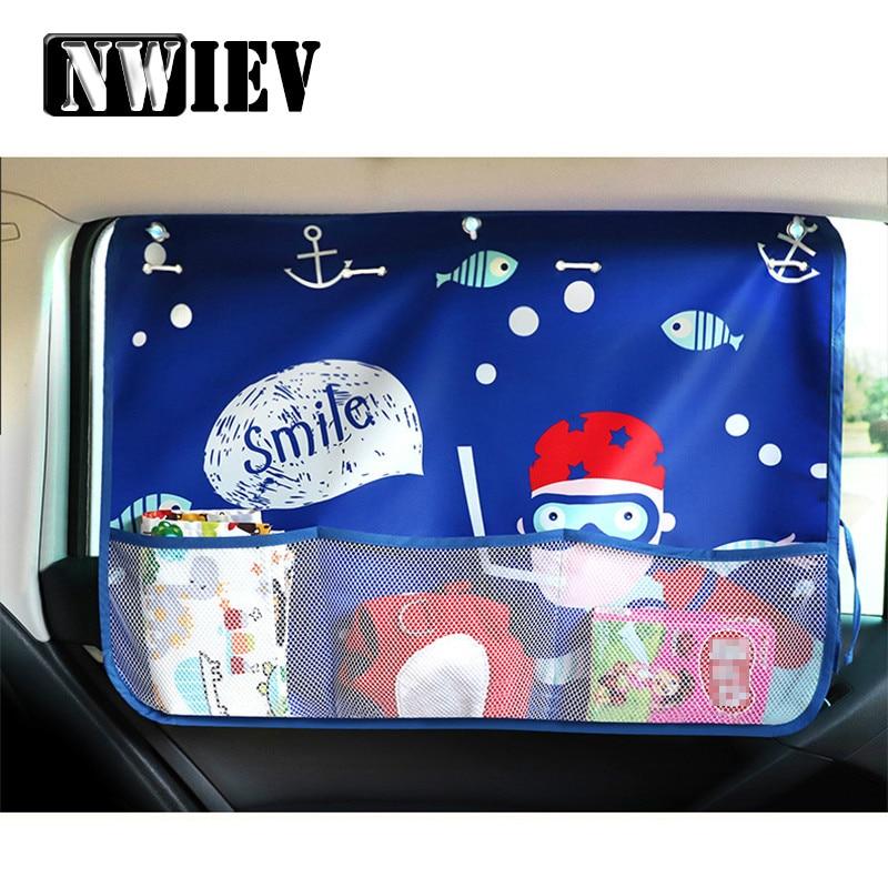 NWIEV coche parasol con dibujos cortina cubierta extensible bolsa de almacenamiento para Chevrolet Cruze Saab Toyota Corolla 2008 RAV4 VW Passat B5 B6