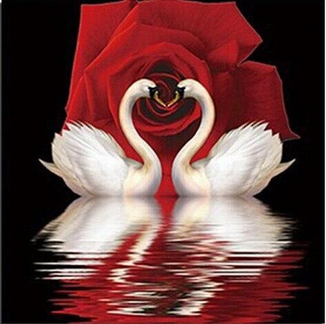 DIY diamante pintura mosaico artesanías hermoso Cisne ama Rosa incrustada pintura decorativa taladro cuadrado bordado de diamante completo