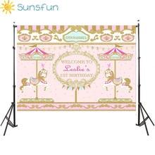 Sunsfun 7x5FT coloré rose et doré carrousel anniversaire filles fond Photo Studio caméra Fotografica bébé douche 220x150cm