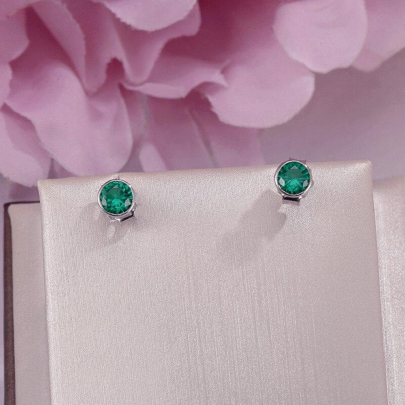 Женские серьги-Пусеты Из серебра S925 пробы, элегантные круглые серьги с зеленым изумрудом