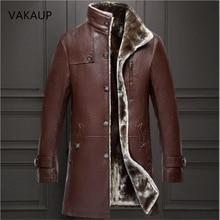 2020 Mens Sheep Leather Jacket Coat 파카 리얼 모피 남성 의류 긴 플러시 두꺼운 겨울 양모 대형 자켓 남성