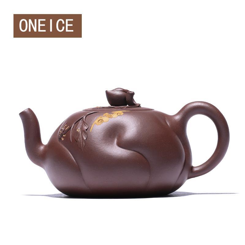 Raw Ore Purple  Mud Longevity Peach Teapot Pot Yixing Purply Clay Teapot Chinese Kongfu Tea Pots 340ml