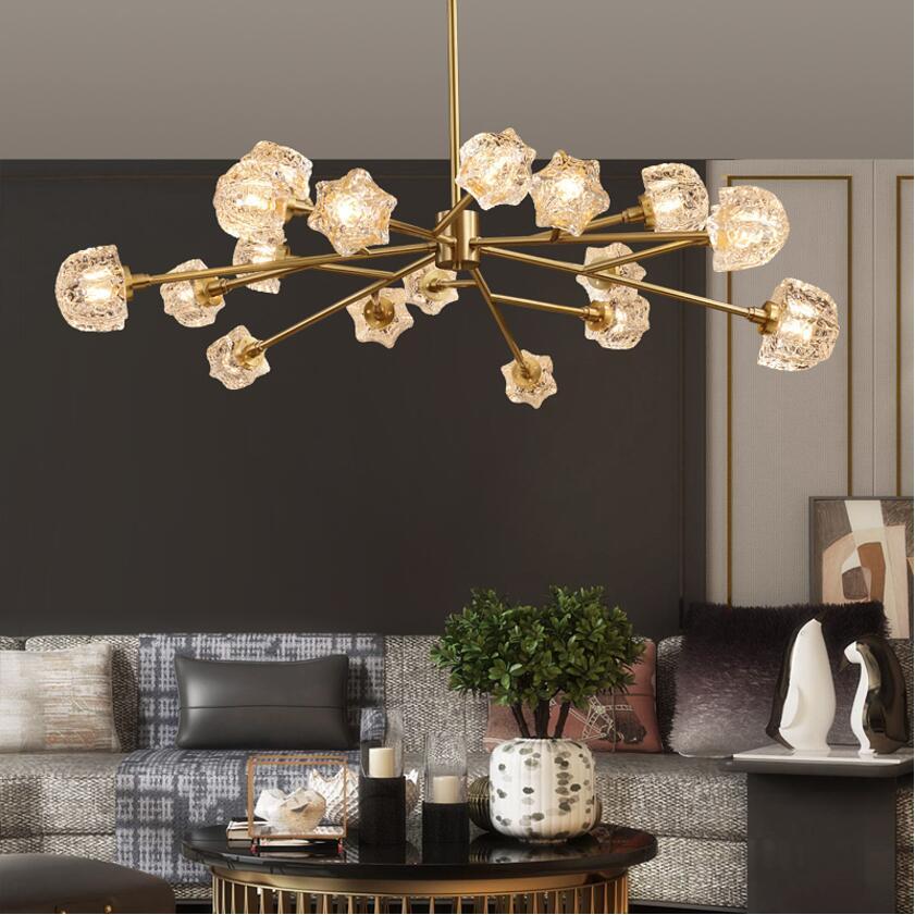 Candelabro nórdico de cristal de cobre, lámpara de lujo para sala de estar, comedor, lámpara molecular decorativa para hotel