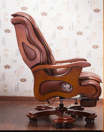 Luxury office chair swivel chair solid wood boss chair leather chair lift massage reclining leather computer chair. leather computer chair household office chair office stool long sitting chair solid wood boss chair lying massage