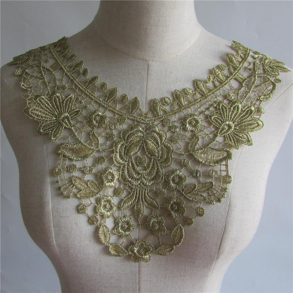 Escote dorado encaje decorativo DIY bordado a mano encaje accesorios ropa GL03