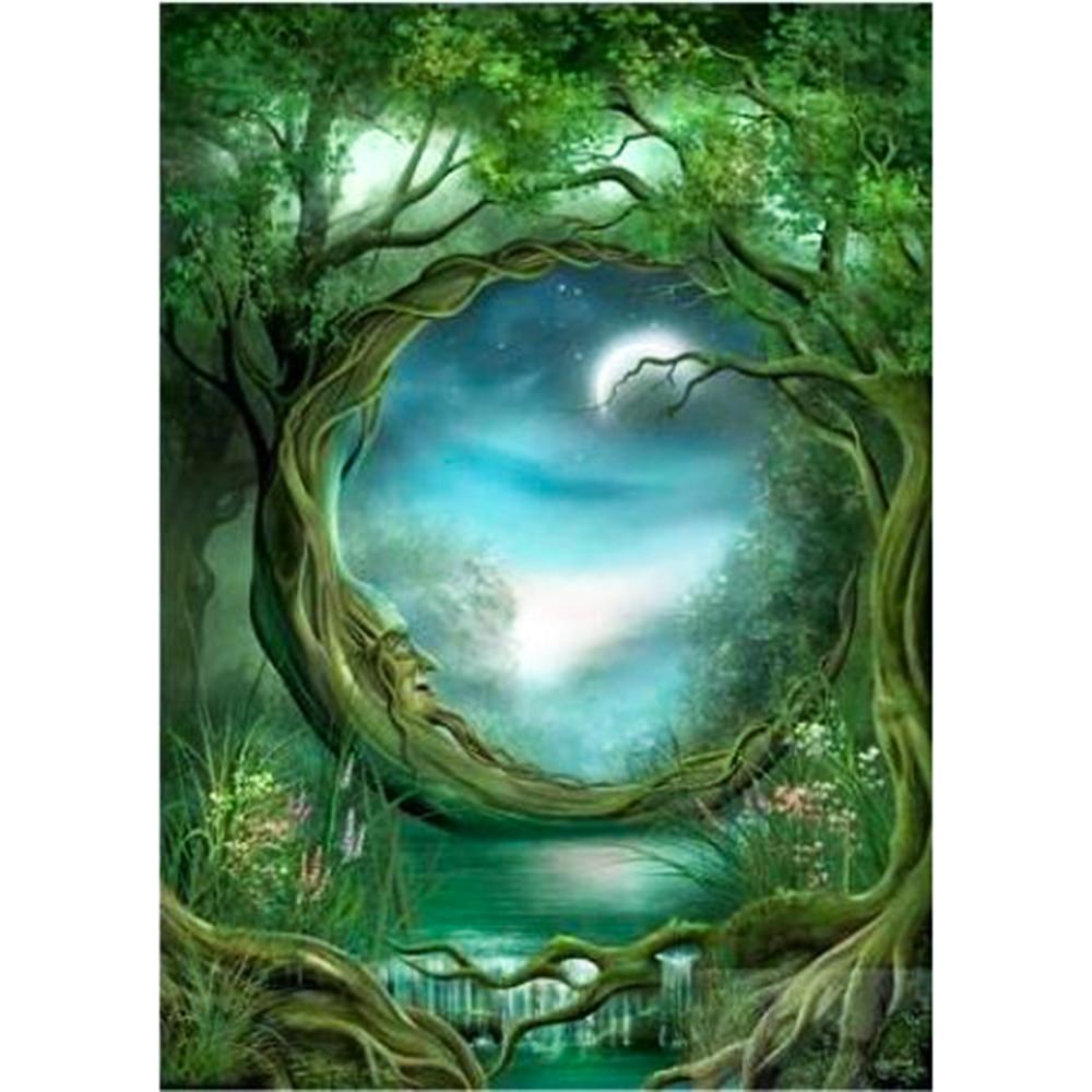 Алмазная картина, Полный Круглый Зеленый пейзаж, дерево, мозаика, сделай сам, алмазная живопись, полный квадрат, вышивка крестиком, домашний ...