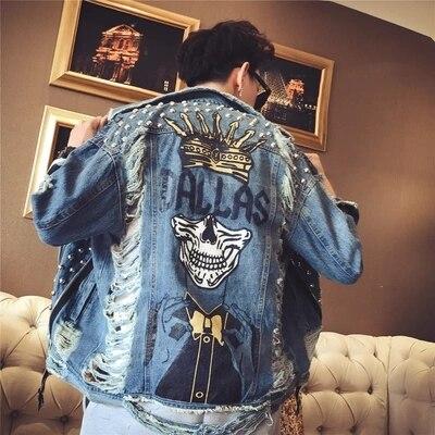 Printemps col rabattu Costume classique Outwear Rivet Denim imprimé Punk veste saison jean veste Hip Hop Sudaderas Mujer