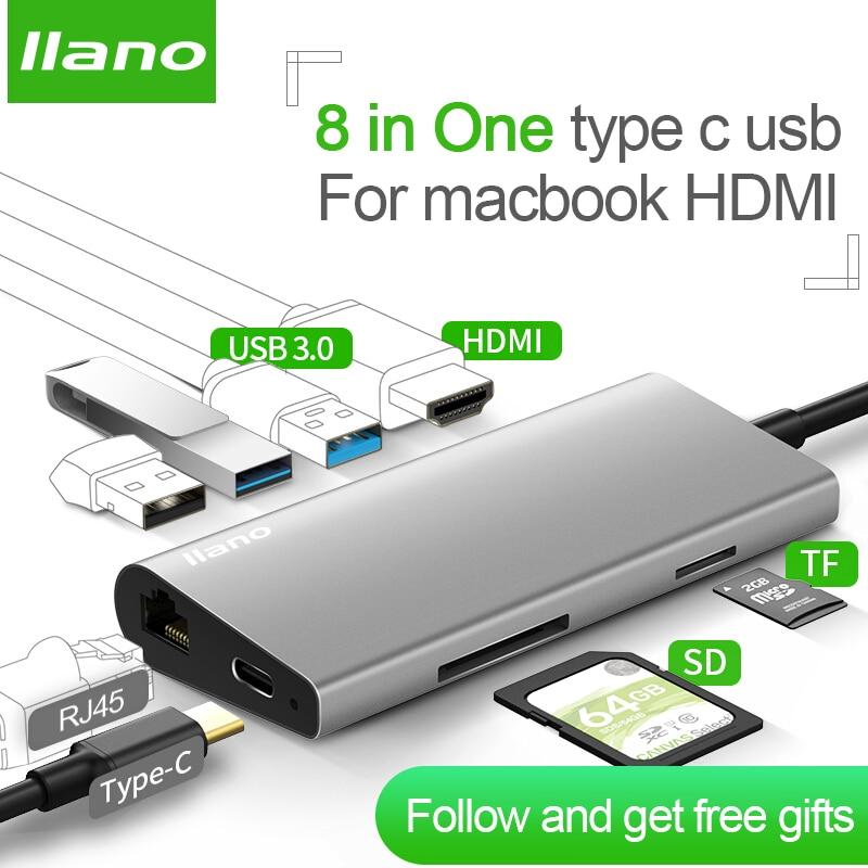 llano usb c hub usb splitter usb3.0 type c hdmi RJ45 Thunderbolt 3 usb verteiler for Samsung S9/S8 Huawei P20 macbook hdmi hub