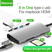 Llano usb c концентратор usb сплиттер usb3.0 Тип c hdmi RJ45 Thunderbolt 3 usb verteiler для Samsung S9/S8 Huawei P20 macbook hdmi hub