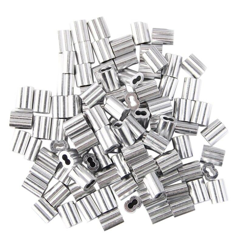100 Uds. Manguito de bucle de prensado de aluminio para Cable y Cuerda de alambre de 3mm de diámetro