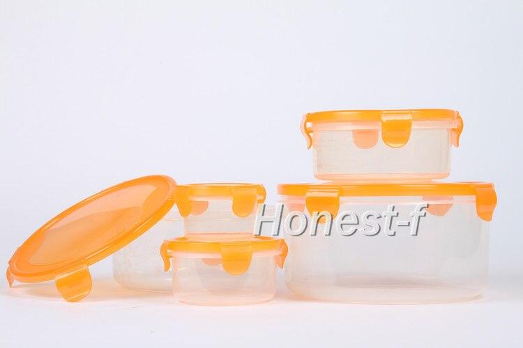 Microondas y lavavajillas caja de plástico apilable hermético y hermético contenedores de almacenamiento de alimentos anidados con tapas de bloqueo naranja