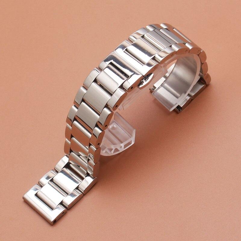 Pulseira de Relógio Polonês dos Homens 23mm Aço Inoxidável Prata Luxo Substituição Metal Pulseira Acessórios 18 19 20 21 22