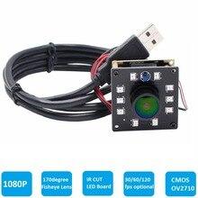 ELP Hoge Snelheid 2MP CMOS OV2710 Module Brede Kijkhoek Fisheye UVC Android Linux IR Led Board Nachtzicht HD USB Camera 1080 P