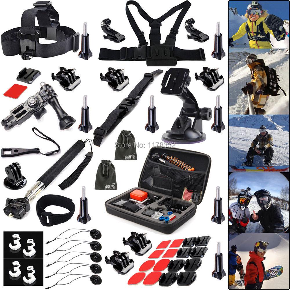 Kit de accesorios deportivos de invierno 45IN1 para Gopro Hero4 negro/plateado HD 3 + 3 2 1 Montaje de trípode/monopié/correa de cinturón de pecho/j-hook