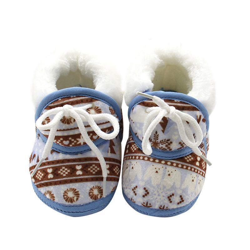 Bebé recién nacido Primeros pasos invierno suela blanda de algodón tela Niño mantener caliente zapatos de impresión
