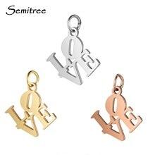 Semitree 5 teile/los Edelstahl Liebe Charms Gold Silber Farbe Rose Gold Liebe Charme für DIY Halskette Schmuck, Die Entdeckungen