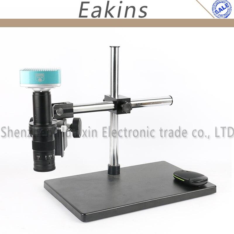 1080 P HDMI USB HD industria laboratorio Vdieo microscopio Cámara tarjeta SD Video Recorde + 180X C-lente de montaje + soporte de mesa estéreo + luz 144