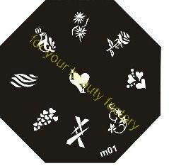 12 unids/lote estampado uñas arte placa de imagen de 6,5 cm Diamete de Octage Serie M M1to M96 diseños para su chooing # x010
