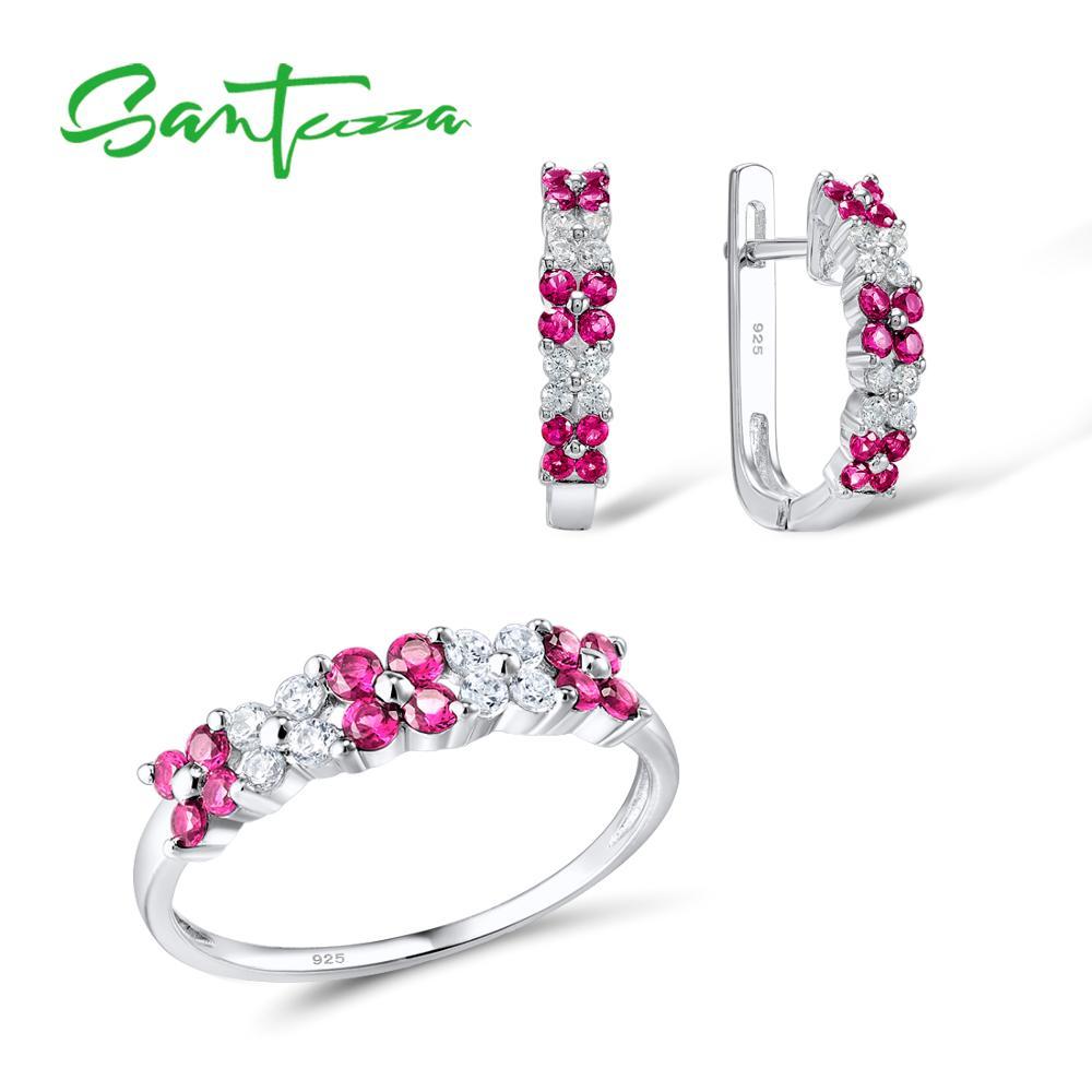 Женский ювелирный набор Santuzza, ювелирный набор из белых кубических камней, серьги из стерлингового серебра 925 пробы, Модный Ювелирный Набор