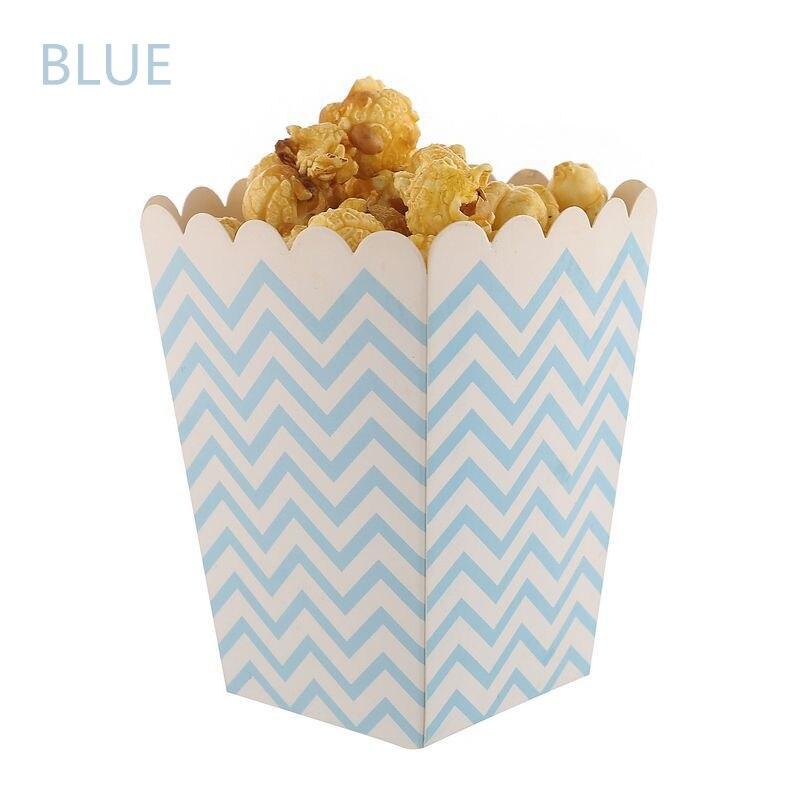 Caixa de pipoca 6 pçs/lote Pop Caixa de Pipoca Chevron Party Favor Do Chuveiro de Bebê Mini-Pop Corn Caixa Do Favor de Partido DIY Céu Cor de Rosa Azul Roxo