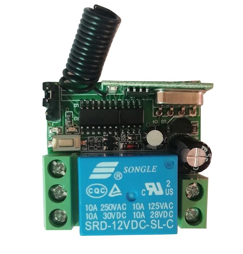 Mini interruptor de control remoto inalámbrico Channe de 12 v 24 v 10 a 1 35MM x 32MM x 17MM interruptor de Relé inalámbrico RF del receptor
