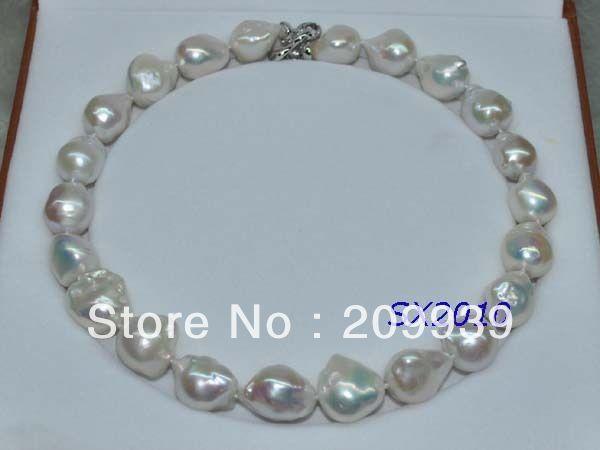 ¡Envío Gratis preciosa! Collar de perlas barrocas naturales iridiscentes 16*22mm barrocas KASUMI