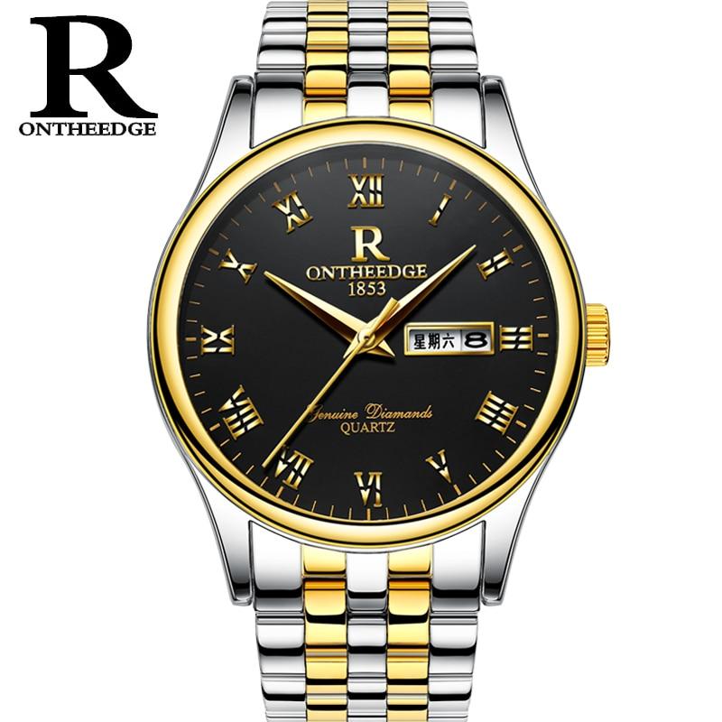 Luxury Brand ONTHEEDGE Gold Zegarek Five links Stainless Steel two tone IP Vacuum Plating Mens New Clock Classic Watch