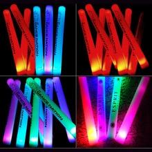 100/150 piezas Flash Stick logotipo personalizado animando luz Led Stick luz LED palo de espuma para boda cumpleaños fiesta Supplie