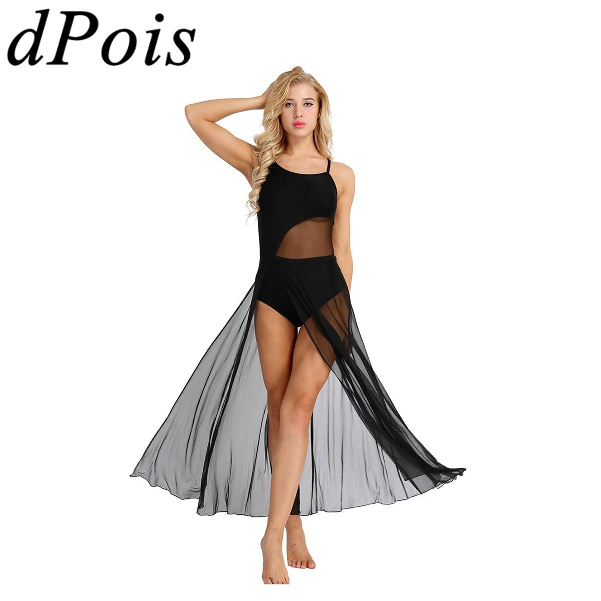 Mujeres de Ballet para adultos vestido de baile tutú bailarina modernos trajes de baile lírico asimétrico malla Maxi falda vestido construido en leotardo