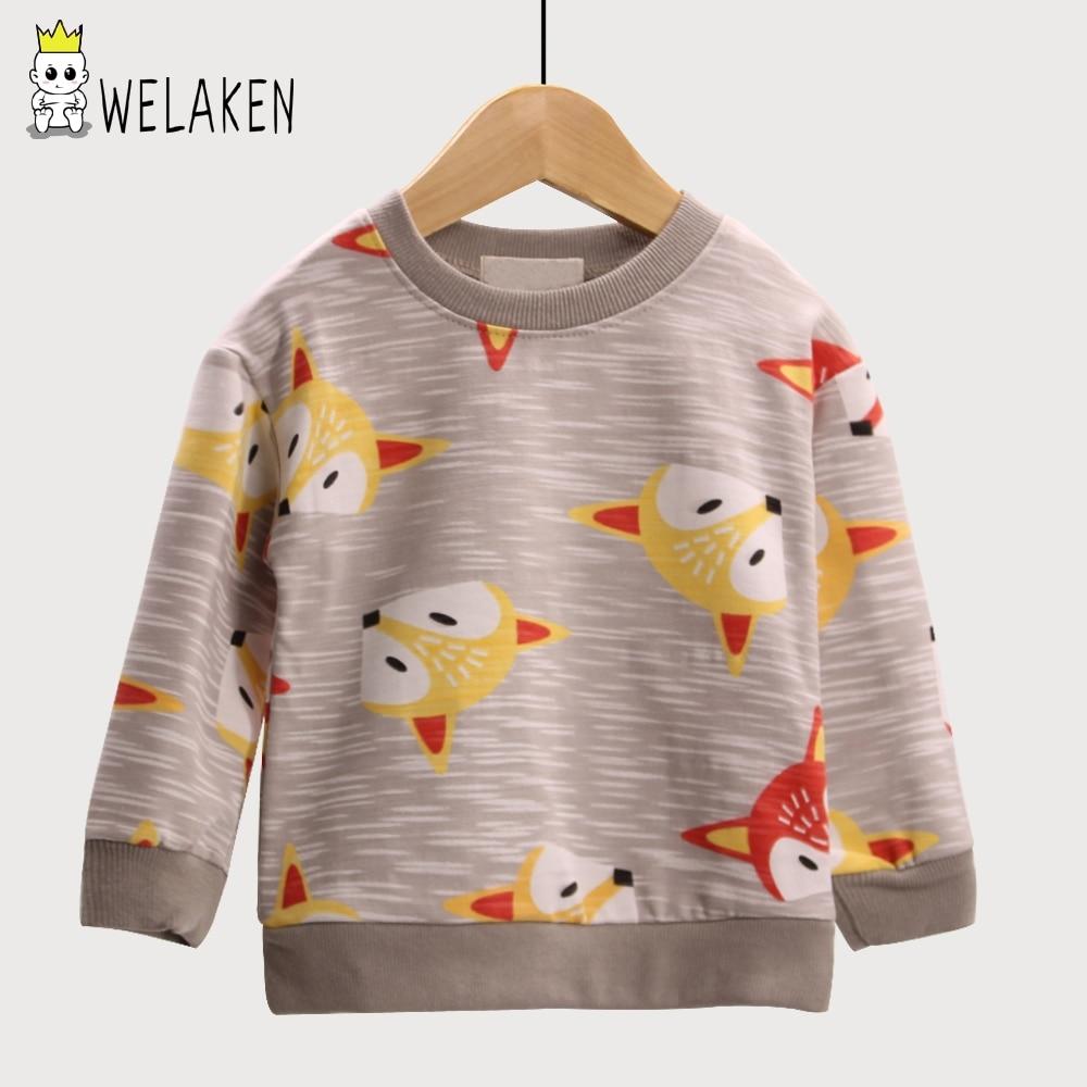 weLaken Boys Casual Coat Cartoon Animal Fox Pattern Girls Hoodies Outwear Spring Children's Clothing Kids Long Sleeve T-shirt