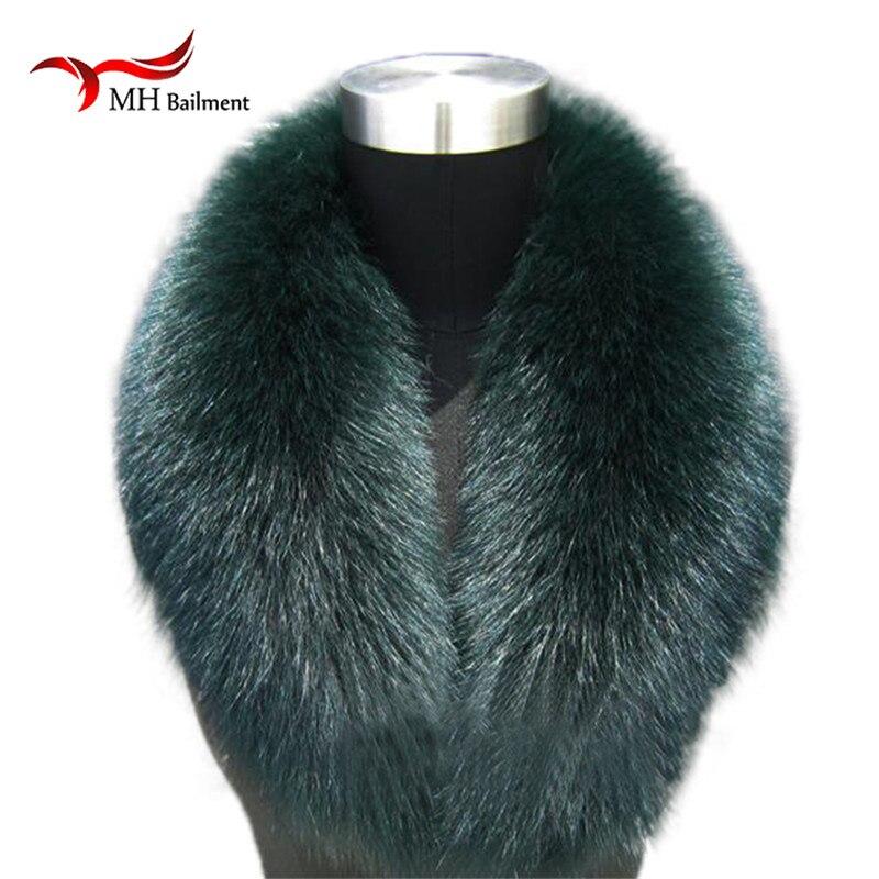 ¡Nuevo! 100% de cuello de piel Natural de zorro verde de lujo con anillo para cuello, bufanda para mujer, cuello de piel de zorro genuino para chaqueta de plumón al por mayor L02