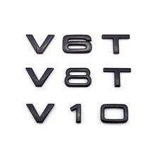 V6T V8T V10 V12 W12 voor Audi TT RS7 SQ5 A8L Brief Nummer Embleem Glanzend Zwarte Auto Styling Fender Side trunk Badge Logo Sticker