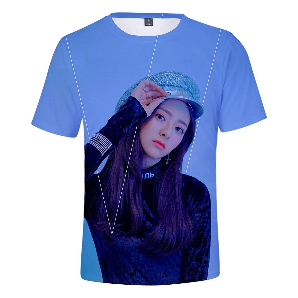 Aikooki ITZY 3D estampado moda camiseta hombres/mujeres verano Casual Popular transpirable manga corta Tops