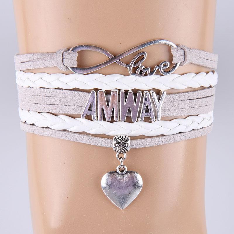 (10 Pçs/lote) Pulseiras De Couro Infinito Amor AMWAY Coração Charme Jóias Para As Mulheres Trançado Bracelet & Bangles Cinza Branca homens