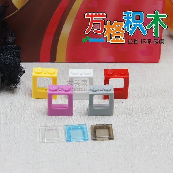 Piezas de ladrillo de elementos 2377 ventana 1x2x2 plano con vidrio translúcido pieza clásica juguete de bloques de construcción accesorio Bricklink 327